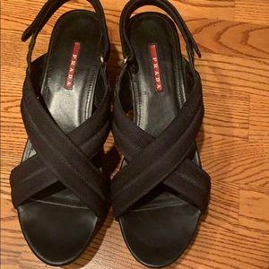 Prada wedge platform sandals
